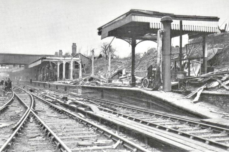COVENTRY - seen here in 1940 after being badly damaged in a raid by the Luftwaffe. Coventry was almost entirely destroyed by bombing raids and was extensively redeveloped in 50/60's when the new station was built.