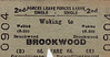 BRITISH RAILWAYS TICKET - WOKING to BROOKWOOD - Second Class Forces Leave Single - fare 6d - dated September 2nd, 1960.