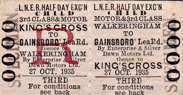 LNER TICKET - WALKERINGHAM - Third Class Child Half Day Excursion to Kings Cross - dated October 27th, 1935. I assume that this is a specimen for an excursion planned by a local group or school, submitted for approval. Walkeringham had a railway station at that time but presumably there was no convenient service to Gainsborough Lea Road. A half day excursion to Kings Cross couldn't have allowed much time in London.