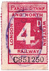 RAILWAY PARCEL STAMP - LONDON & NORTH WESTERN RAILWAY - 4d parcel stamp, used, franked August 10th, 1906.
