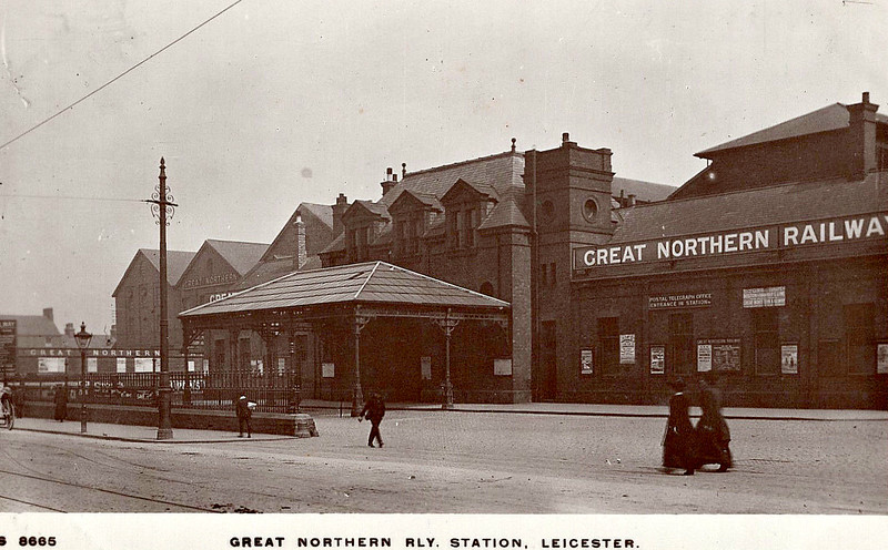 LEICESTER BELGRAVE ROAD STATION - Opened in October 1882, the GNR's terminus in Leicester was a rather grand affair. With 5 platforms and a vaulted steel roof lit by hundreds of glass panels, it had of the pretensions of a grand mainline terminus. The only trouble was that it sat at the end of end of a little used branchline! The main passenger services ran to Grantham and Peterborough via the triangular junction at Marefield junction, with local services to Melton Mowbray North. There was never much local traffic, as the area east of Leicester was very sparsely populated, and the Peterborough trains stopped in 1916 as wartime economy and never returned. By 1950, only two Grantham trains and the locals remained. All regular services ended in December 1953. However, on a summer weekend, right up until September 1962, the station burst into life as specials to the East Coast seaside resorts virtually followed each out in the morning and back again in the evening. Thereafter, the site was used as an engineering depot until final closure in January 1969. The site is now occupied by a supermarket.