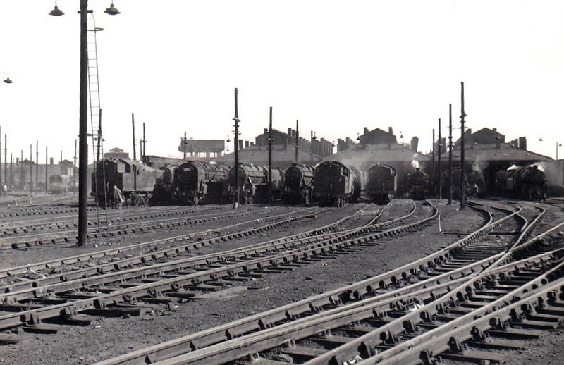 WILLESDEN MOTIVE POWER DEPOT (1A) - this was a large depot, many LMS classes on display as well as a Britannia Pacific on the left and Class 20 and 25 diesels in the left background, dating this shot to about 1958.