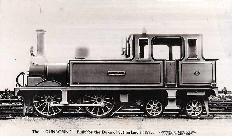 DUNROBIN - 0-4-4T, built 1895 by Sharp Stewart for Duke of Sutherland's private railway - withdrawn about 1920 - 1950 placed on display - 1965 to Fort Steele, Canada - 2005 returned to UK to Beamish Museum.
