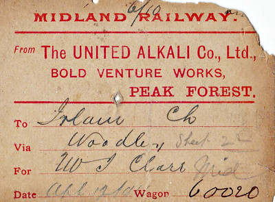 MIDLAND RAILWAY WAGON LABEL - PEAK FOREST to IRLAM - On April 12th, 1911, exactly one year before the TITANIC sank, Wagon No,60020 was bound from Peak Forest to Irlam, via Woodley, consigned to a Mr J Clark II think), carrying I presume a load of lime.