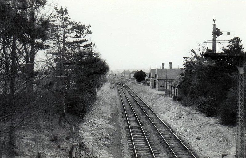 NOCTON & DUNSTON - on the line from Lincoln to Sleaford in Lincolnshire, closed in 1955, and seen here in 1961 after the platforms had been demolished.