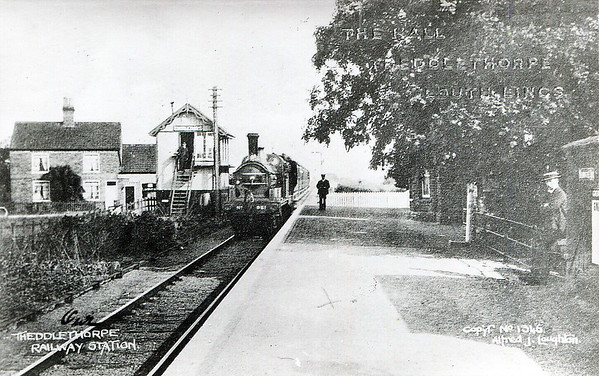 THEDDLETHORPE - Opened in October 1877 on the Mablethorpe Loop by the GNR, Theddlethorpe was the first station north of Mablethorpe. In May 1960 the northern arm of the Loop was closed entirely but the station and platforms survive in private use. Seen here in about 1914 with a GNR stopping train arriving.