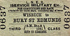 LNER TICKET - WISBECH - Third Class Military Service Single to Bury St. Edmunds. This would have been from Wisbech GE station.
