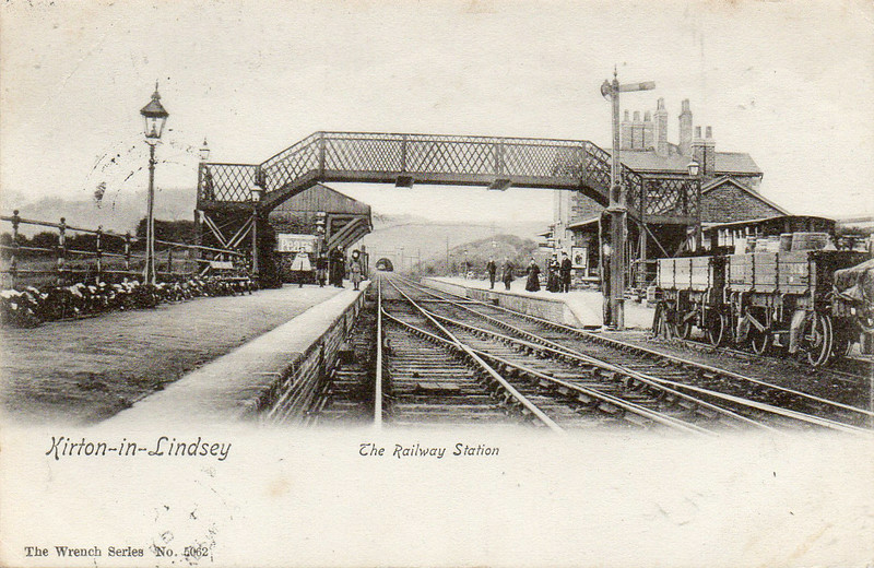 KIRTON-IN-LINDSEY - This small station was opened in 1849 on the line from Gainsborough Central to Brigg. In passenger terms, the line was never heavily used, there being many alternative routes in this area. The line has been singled and the platform on the left demolished, although the platform on the right and its buildings are more or less complete. This line is unusual in that it only has a service of 3 trains in each direction and those only on a Saturday! This may account for the passenger figures of 224 in 2011!