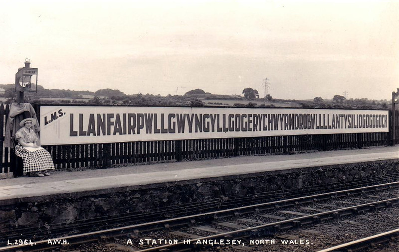 LLANFAIR PG - the station in LMS days. The station lamp just says 'Llanfair'.