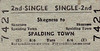 BRITISH RAILWAYS TICKET - SKEGNESS - Second Class Single to Spalding Town, fare 6s 6d - dated August 3rd, 1959.