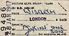 BRITISH RAILWAYS STAFF PASS - WISBECH - Second Class Return to London for, I deduce, a Mr Atkins and his son, dated January 28th, 1967. The station closed just over a year later.