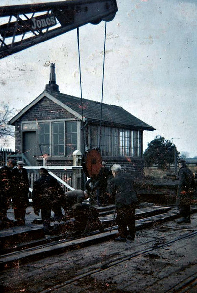 BALDERSBY - tracklifting in operation, 09/62 - the station, on the Ripon - Thirsk line, had closed in 1959.
