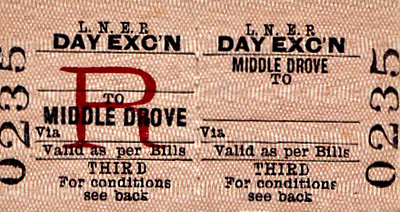 LNER TICKET - MIDDLE DROVE - Third Class Day Excursion to blank destination - I can't imagine that many excursions ever called at Middle Drove.