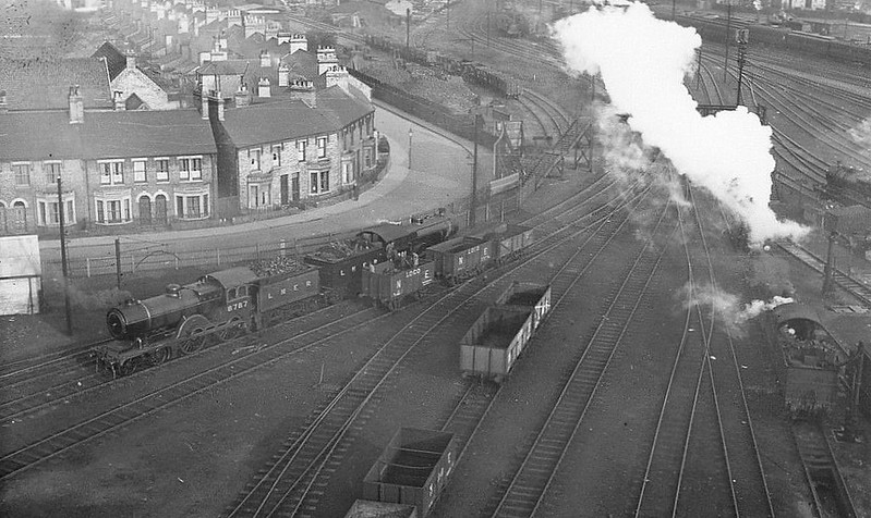 CAMBRIDGE - The loco depot yard seen from the top of the coaling tower, sometime in the 1930's. All of the engines on view seem to 'Claud Hamilton' Class 4-4-0's.