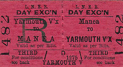 LNER TICKET - MANEA - Third Class Day Excursion to Yarmouth Vauxhall. As the platforms at Manea can only accommodate two coaches, loading a 10 or 12 coach excursion would have been fun.