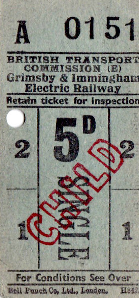 BRITISH RAILWAYS TICKET - GRIMSBY & IMMINGHAM ELECTRIC RAILWAY - Child Single, fare 5d. The G&IER was opened by the GCR in 1912 to service their new docks complex at Immingham as virtually no one lived in the area adjacent to the docks and most of the workers came from Grimsby. It ran for 7 miles into the centre of Grimsby and ran 24 hours per day, 7 days a week. Even though it was still handling over 250,000 passengers a year, it closed in July 1961.