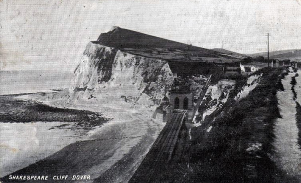 SHAKESPEARE TUNNEL - the eastern portal of the 1387 yard long dual bore tunnel on the South Eastern Railway mainline to Dover. Two of the ventilation shafts can be seen on the hilltop - posted August 25th, 1905.