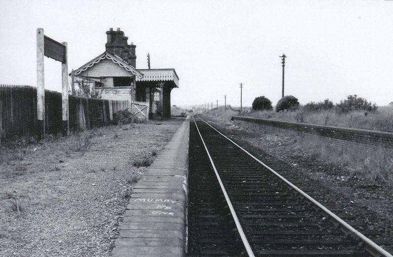 MUMBY ROAD - Opened in October 1877 by the Sutton & Willoughby Railway, Mumby Road was the first station eqst of Willoughby Junction on the Mablethorpe line. Although there were two platforms and a passing loop here, only the main platform was generally used except in the summer, when large numbers of excursion trains used the line. In 1950, it was served by 5 trains each way per day. The station closed amongst much controversy in October 1970 and has since been demolished. Seen here after closure.