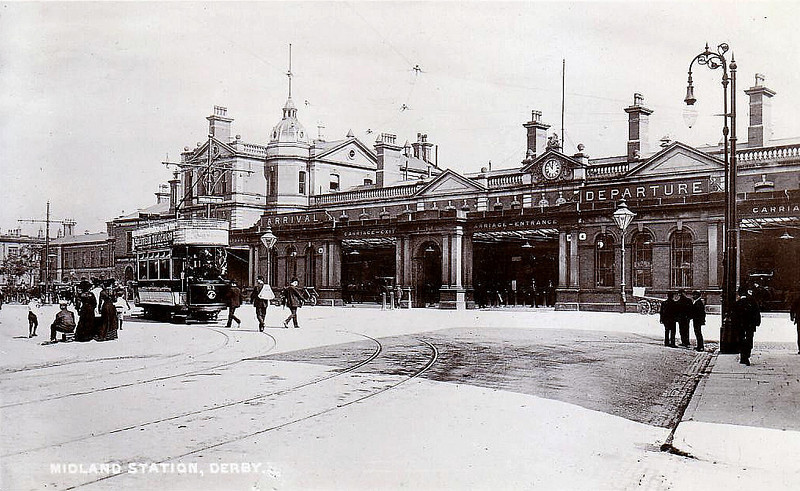 DERBY MIDLAND - this view of Derby Station would have changed little between 1900 and 1970. However in 1985, the old Victorian Station was completely demolished and replaced - posted 08/10/07.