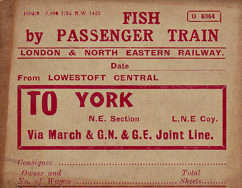 WAGON LABEL - FISH BY PASSENGER TRAIN - An LNER-era label for fish travelling via passenger train over the M&GN section. In the days before widespread refrigeration, fish had to moved quickly from the ports to the markets, packed in ice, and with a very high priority, higher than passengers in some cases. As this label completely pre-printed, this must have been a regular consignment.