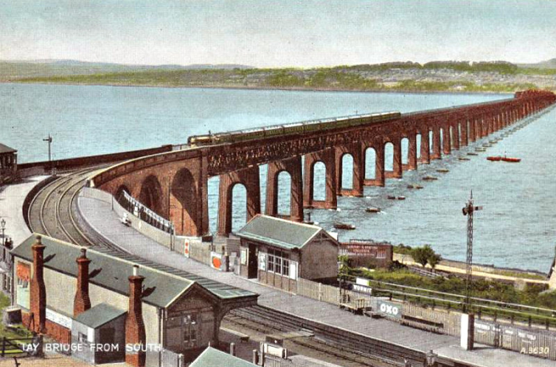 WORMIT - built on a very sharp curve at the south end of the Tay Bridge, the station was closed in 1969, dismantled and re-erected at the Bo'ness & Kinneil Railway. Note the piers of the collapsed bridge on the right.