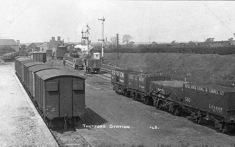 THETFORD - Opened in July 1845, Thetford Station is an important intermediate station on the old GER mainline from Norwich to London via Cambridge. It is seen here in about 1910 with a Norwich-bound express about to depart. The goods yard looks very busy. The station is still open, served by local Cambridge - Norwich and long distance EMT services from Norwich to the Midlands and Northwest and handles over 250,000 passengers per year.