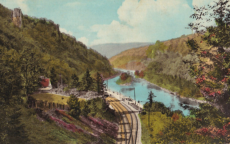 SYMONDS YAT - Opened in August 1873 on the line from Ross-On-Wye to Monmouth, Symonds Yat is now in the centre of the Wye Valley Nature Reserve. The station, perched above the River Wye, had two platforms and a passing loop but little else. As can be seen, it was not a thriving population centre! The station, and the whole line, closed in January 1959 and is now a car park.