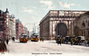NEWCASTLE - The porte-cochere at Central Station, in an age when there is not a single motor vehicle in sight! The station boasts twelve platforms and the largest junction in the world. It handles 8 million passengers a year.