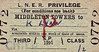 LNER TICKET - MIDDLETON TOWERS - Third Class Child Single to Kings Lynn, fare 2d. This is a journey of only a few miles.