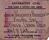 WAGON LABEL - On March 24th, 1942, Wagon No.5485 was despatched from Bairds & Scottish Steel Ltd to Fisons Fertilisers Siding in Kings Lynn Docks loaded with anthracite coal.