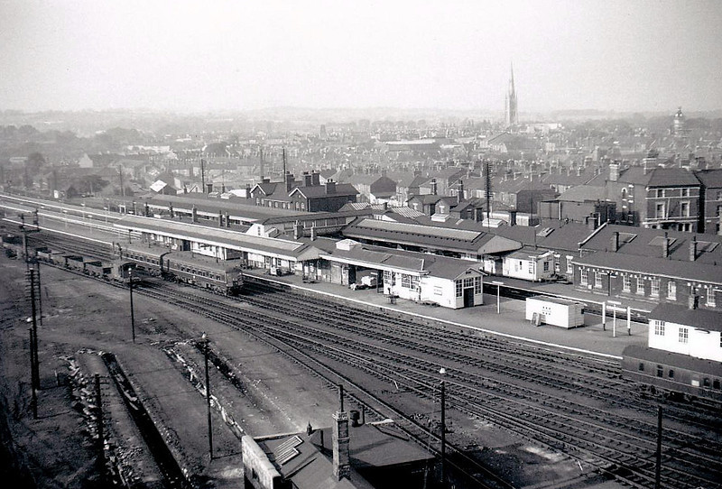 GRANTHAM - looking across the Station and the town from the coaling tower, prior to Depot closure in 1963. The station, in common with most GNR ECML structures, is a fine example of company parsimony.