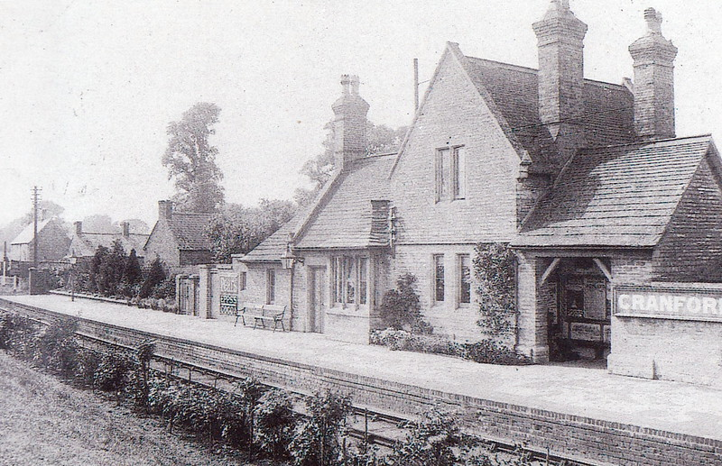 CRANFORD - lying between Thrapston and Kettering in Northamptonshire on the line from Cambridge - the station closed in 1956 although the line remained in situ from Kettering for iron ore traffic into the 1970's - pretty little stone-built station with garden.