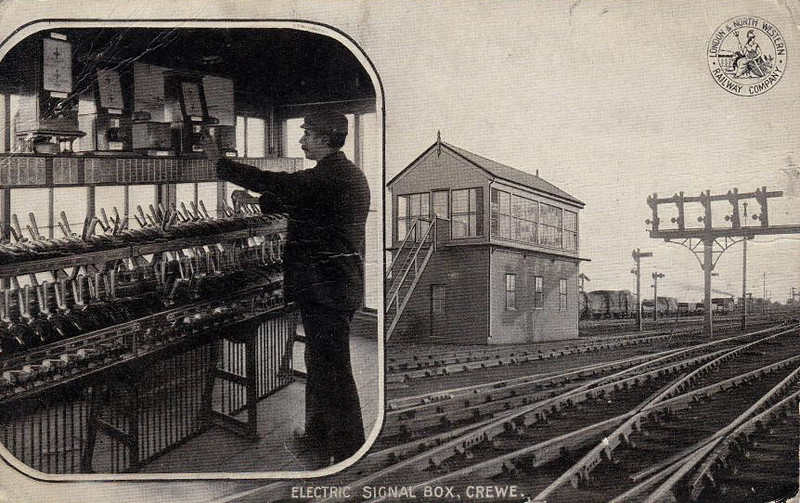 CREWE - showing an LNWR Electrical Signal Frame. I'm not sure which box this is as it seems the LNWR equipped several thus at about the same time and, of course, they no longer exist.