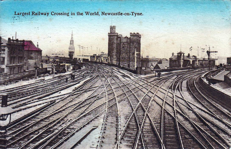 NEWCASTLE CENTRAL - the railway junction looking from the station - note platelayers - posted 19/09/15.