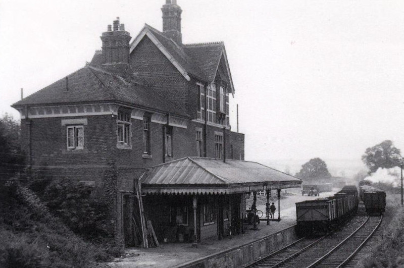 LAVANT STATION - built in July 1881 on the LBSCR line from Midhurst to Chichester. Street level entry was on the first floor, stairs leading down to the single platform. Passenger services were withdrawn in July 1935 but freight services lasted until January 1970. The line was completely closed in 1991. Seen here in 1955 with sugar beet wagons being shunted in the station.