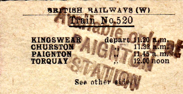 BRITISH RAILWAYS TICKET - PAIGNTON (2) - The reverse side of the previous ticket.