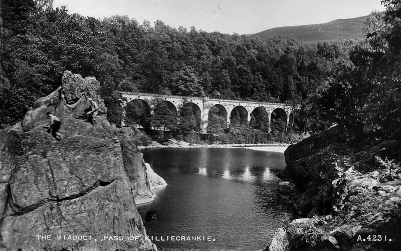 PASS OF KILLIECRANKIE - The Vidaduct was built in 1863 to carry the Inverness & Perth Junction Railway, from 1865 the GNSR, along the east side of the valley. 510 feet long, it cost £5730 to build.