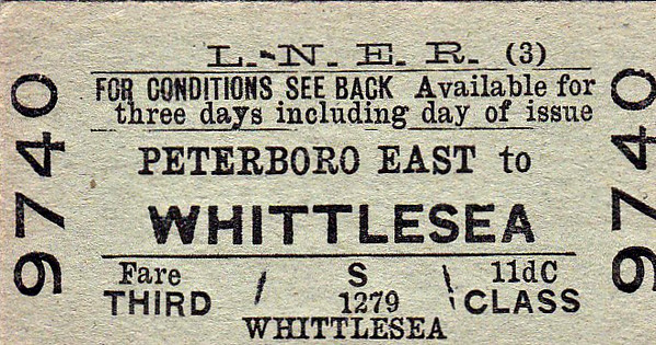 LNER TICKET - PETERBOROUGH EAST - Third Class Single to Whittlesea - fare 11d.