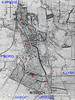 WISBECH - A map from a 1947 guide book to Wisbech. The hatched areas are set aside for industrial development. The railways have been drawn over to show them better. As can be seen, both the M&GN and GER stations were badly situated to serve what was a very busy port. Wisbech North (A) was the wrong side of the river and Wisbech East (D) was the wrong side of town. This led to the building of an extensive and tangled network of harbour lines which threaded right through the town. The M&GN harbour branch (C) ran from the goods yard (B), along the west bank of the river to West Quay and into the Old Market, ending up almost back at the station. The GER harbour lines (F) ran from just east of the passenger station (D), through the residential areas and the park to the gasworks (G) and the extensive timber yards (H) on the east bank of the river. The GER goods station (E) was entirely separate and about half a mile from the passenger station. It was the extensive goods station that remained open until 2001. The Wisbech & Upwell Tramway junction (J) was just west of the harbour junction on the south side of the line to Kings Lynn.
