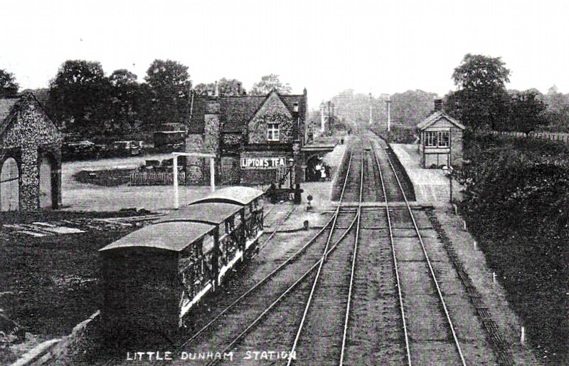 LITTLE DUNHAM - opened in 1848 on the line between Swaffham and East Dereham and closed in 1968 when the line closed. The station building still exists as a private house.