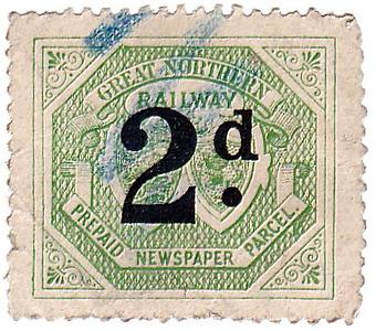 RAILWAY NEWSPAPER STAMP - GREAT NORTHERN RAILWAY - 2d newspaper stamp.