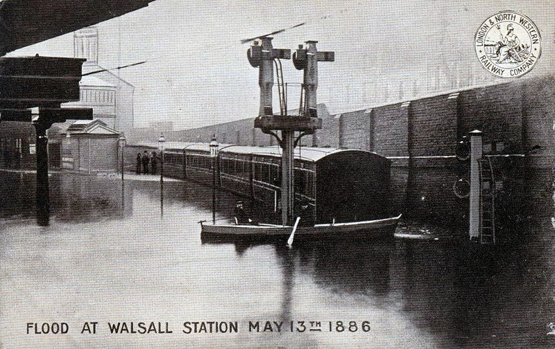 WALSALL STATION - Heavy rains in May 1886 caused disastrous flooding in and around Walsall, as seen here at the station, looking more likie a boating lake!