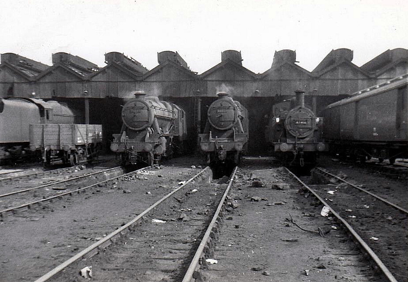 LIVERPOOL EDGE HILL MPD (8A) - 2 Stanier 8F's and a 'Jinty' 0-6-0T are seen sometime in the 1960's.