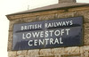 LOWESTOFT CENTRAL - Such signs as this were once commonplace sight all over the country. This was a particularly large one, in dark blue enamel (Eastern Region colours). A few still exist but they are few and far between, this being one of the best.
