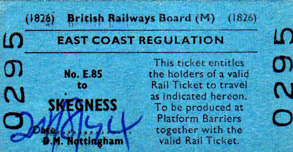 BRITISH RAILWAYS TICKET - NOTTINGHAM MIDLAND - Second Class Train Reservation Ticket to Skegness, August 24th, 1954. This ticket, in conjunction with an ordinary return, would guarantee the holder a place on one of the Summer Saturday Specials that ran to Skegness for the benefit of holidaymakers, many of whom would be bound for Butlins. This was necessary because these trains were so popular, several running on every Saturday and Sunday during the summer timetable from a variety of points in the Midlands. The train took next week's holidaymakers to Skegness and brought last week's home. These trains ran right into the early 1990's.