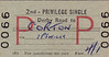 BRITISH RAILWAYS TICKET - DERBY ROAD - Second Class Privilege Single to Corton, via Ipswich - fate 4s 1d - dated November 3rd, 1966. Corton, on the N&S Joint Line between Lowestoft and Yarmouth, closed in May 1970.