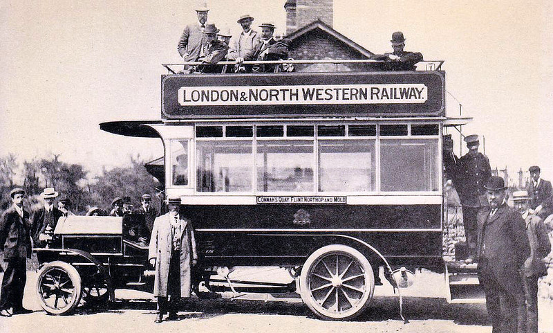 LONDON & NORTH WESTERN RAILWAY - The Connah's Quay - Flint - Mold omnibus in about 1910.