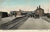 SPALDING - A picture from about 1910 showing just what a substantial railway centre Spalding once was. No less than 7 platforms and the junction of 6 lines. A GNR train is about to depart for Peterborough. The platforms to the left were used by M&GNJR trains.