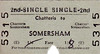 BRITISH RAILWAYS TICKET - CHATTERIS - Second Class Single to Somersham - fare 1s 8d, changed by hand from 1s 6d - dated June 9th, 1965, just 2 years before closure.