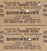 BRITISH RAILWAYS TICKET - WELLINGTON (SALOP) - Consecutively numbered Third Class Half Day Excursion Returns to Shrewsbury - dated August 19th, 1958.